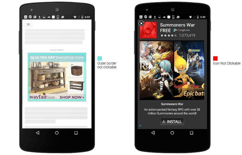 Google introduit des améliorations sur les publicités mobiles pour éviter les clics accidentels
