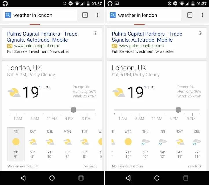 Google se met aux prévisions météo sur 10 jours