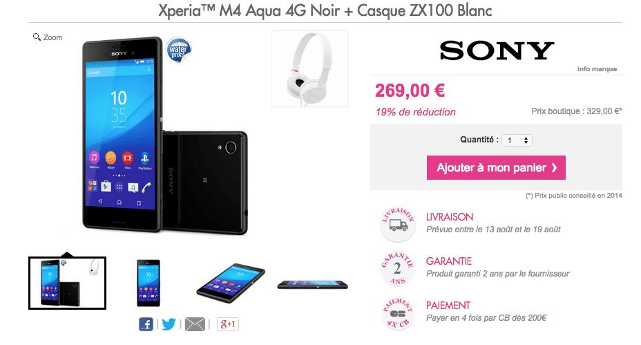 Bon plan : Le Sony Xperia M4 Aqua est à 260 euros