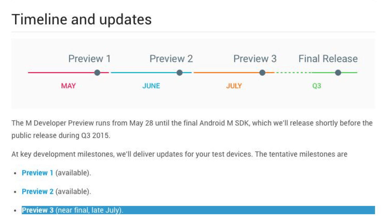 Android M Developer Preview 3 : il faut s'attendre à un peu de retard