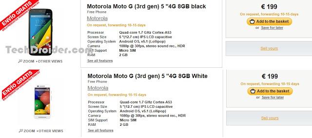 Le Motorola Moto G (3e génération) se montre sur le site de la FNAC en Espagne