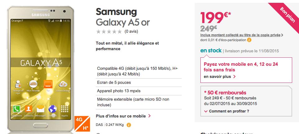 Bon plan : le Samsung Galaxy A5 est à 199 euros