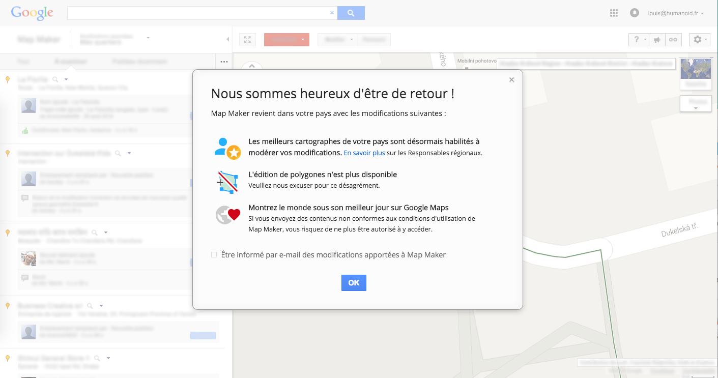 Google Map Maker est de nouveau disponible dans l'Hexagone