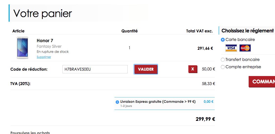 Honor 7 : toujours à 299 euros en France