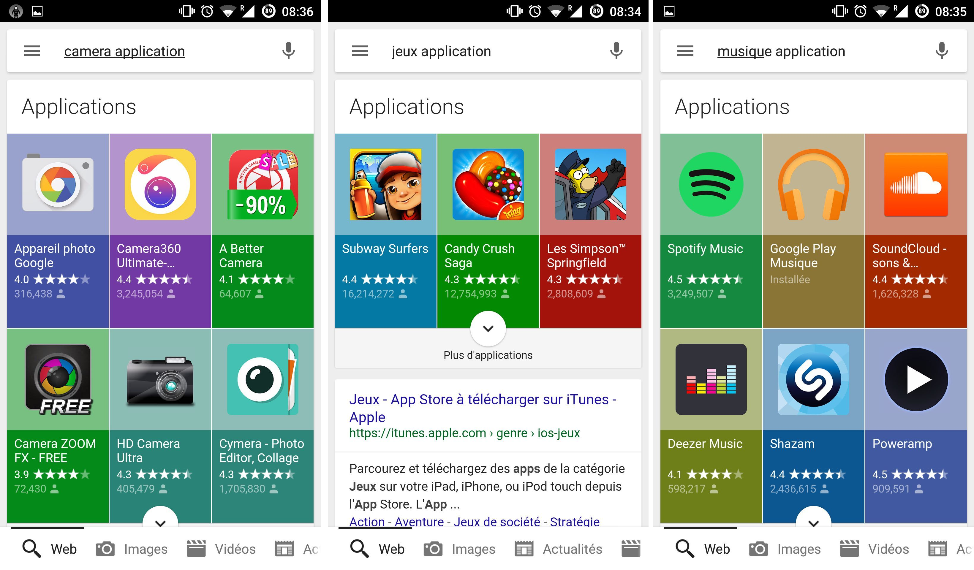 Google a refondu le design de la recherche d'application au sein de Google Search