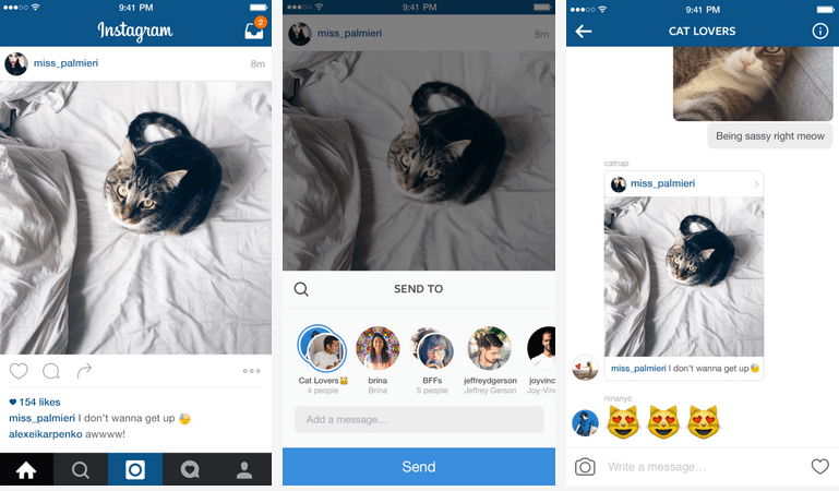 Instagram Direct se met aux fils de conversations