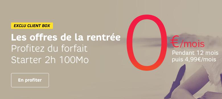 Bon plan : SFR offre le forfait SFR 2h + 100 Mo pendant un an à ses clients Box