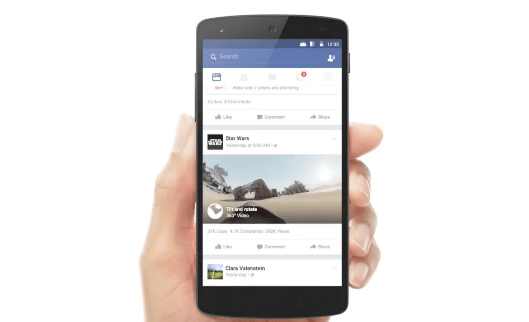 Facebook intègre également des vidéos à 360 degrés sur web et mobile