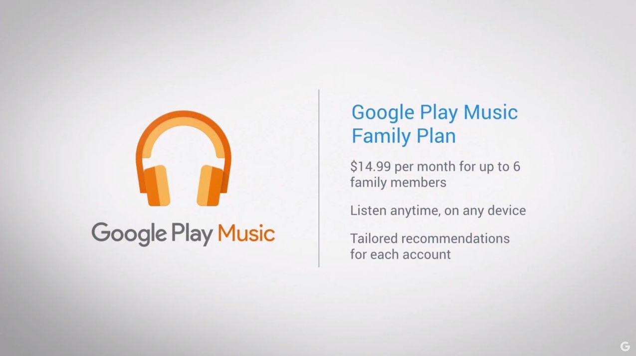 Google Play Musique : l'abonnement familial arrivera avant la fin de l'année