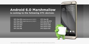 HTC confirme l'arrivée d'Android 6.0 Marshmallow pour 12 modèles