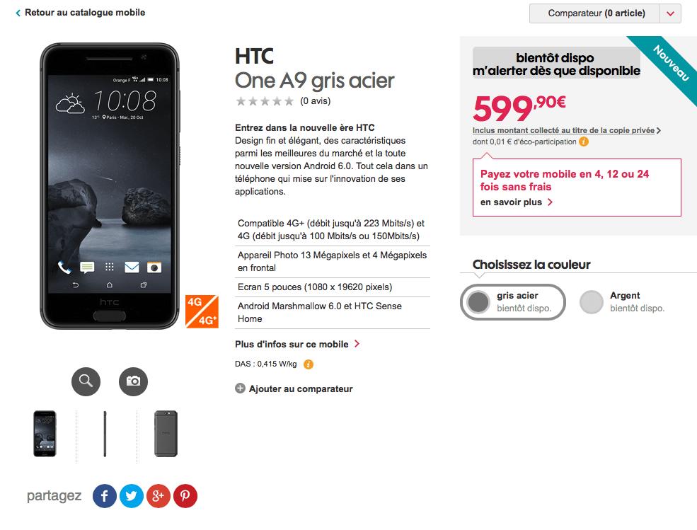 Le HTC One A9 est en fuite chez un opérateur, et son prix est désormais connu