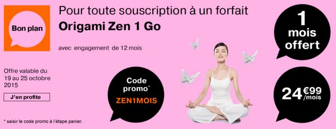 1 mois offert sur le forfait Orange Origami Zen 1Go et 5 euros de réduction sur les autres forfaits