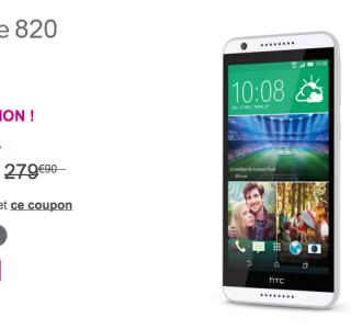 Bon plan : 80 euros de réduction sur le HTC Desire 820 chez Bouygues Telecom