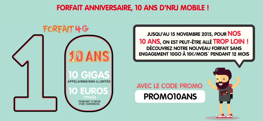 Bon plan : pour ses 10 ans, NRJ Mobile propose un forfait 10 Go à 10 euros