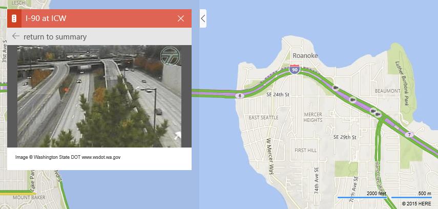 Bing Maps permet de consulter les caméras de surveillance des routes