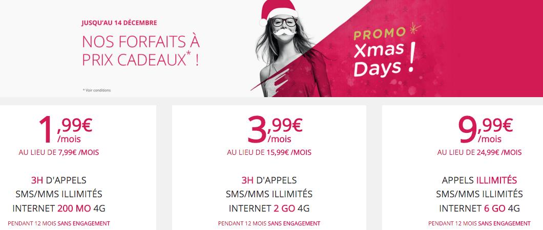 #XmasDays : Virgin Mobile propose un forfait 6Go à 9,99 euros et 2 Go à 3,99 euros
