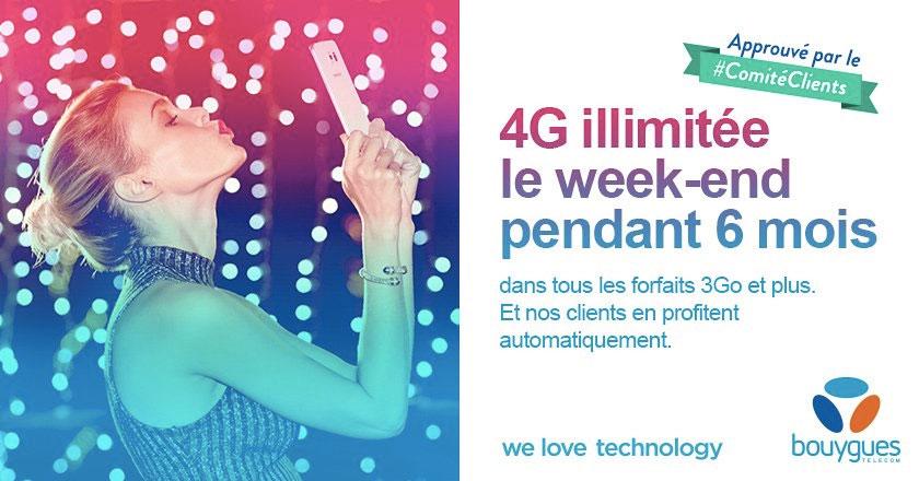 4G : Bouygues Telecom offrira une data presque illimitée chaque weekend au 1er semestre 2016