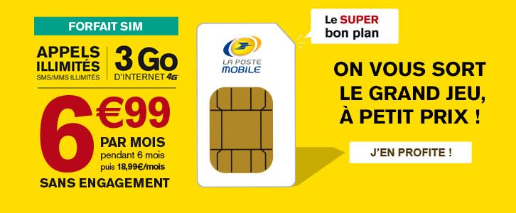 La Poste Mobile lance un forfait mobile 3 Go à 6,99 euros par mois