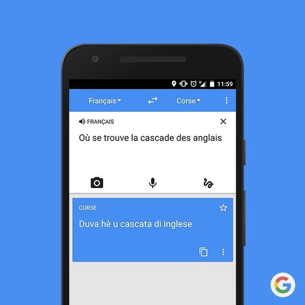 Google Traduction se met même au corse