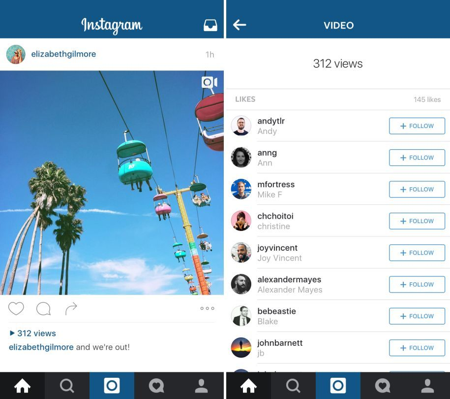 Instagram va bientôt afficher un compteur de vues sur les vidéos