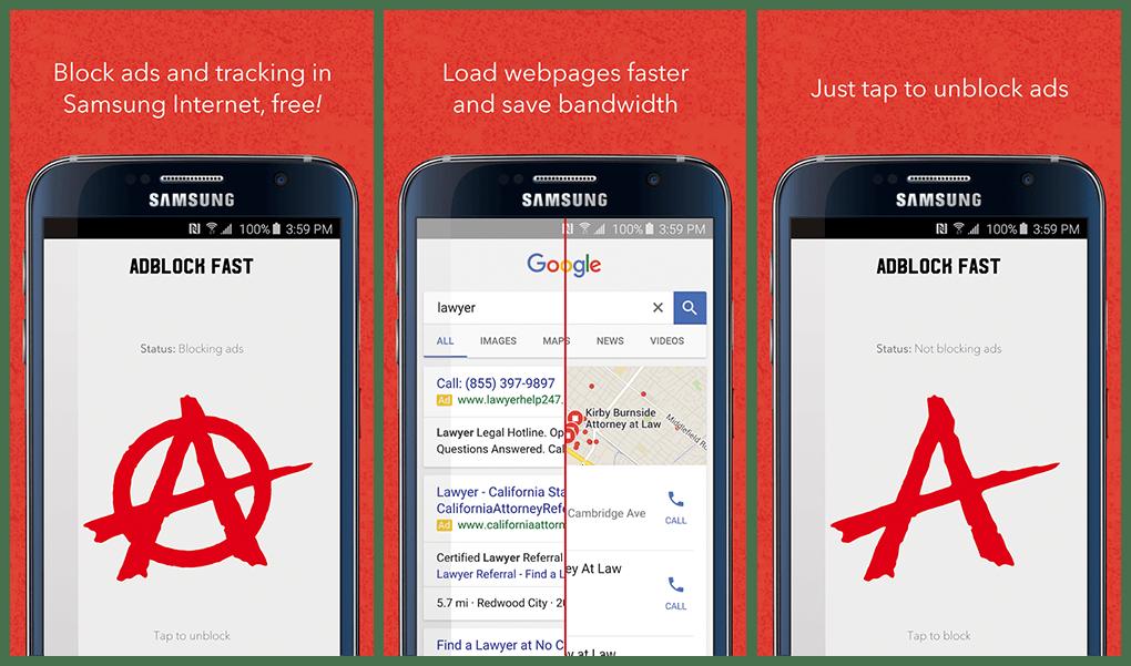 Samsung bloque les publicités sur ses mobiles avec Adblock Fast