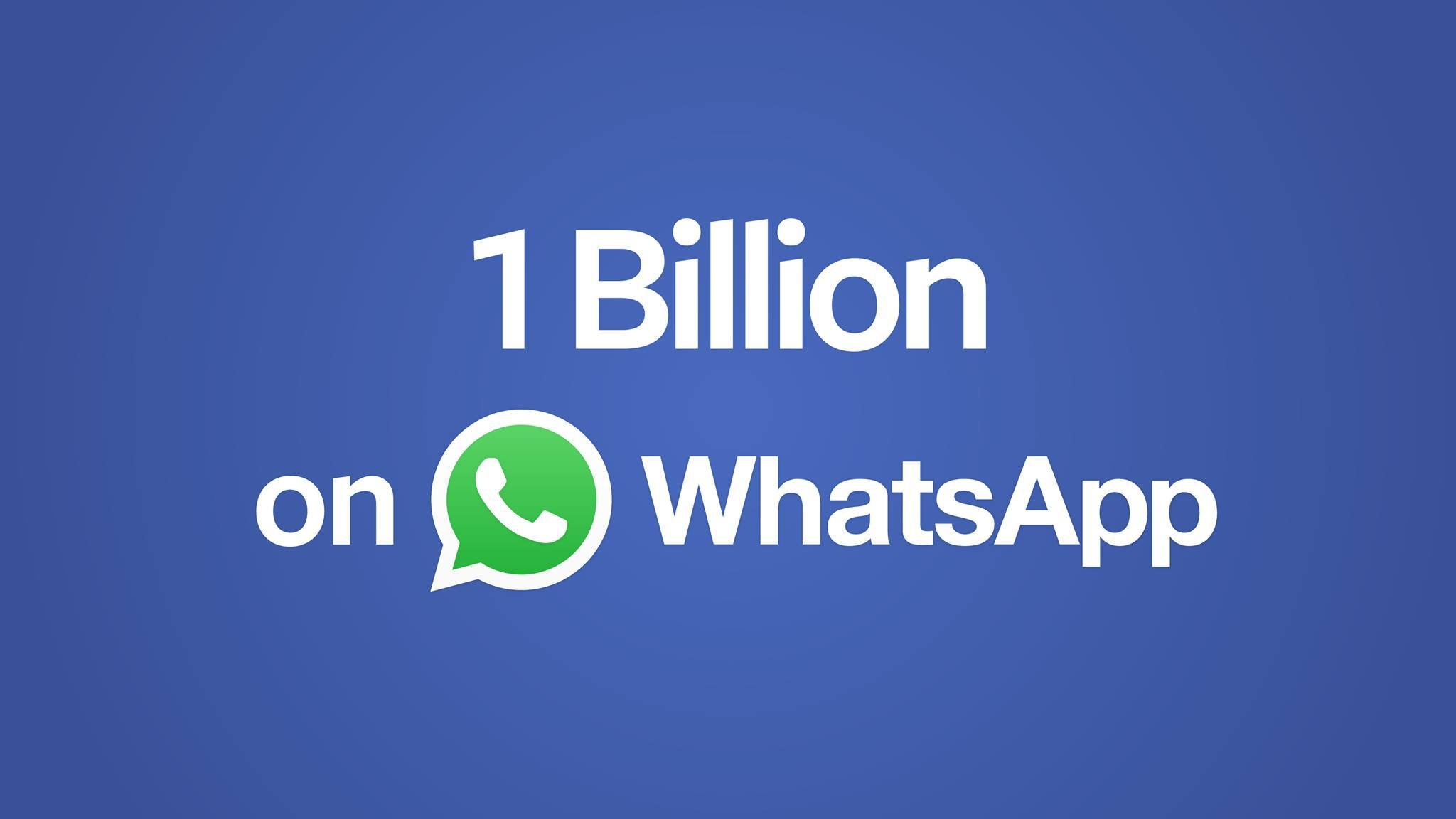 WhatsApp dépasse (aussi) le milliard d'utilisateurs actifs
