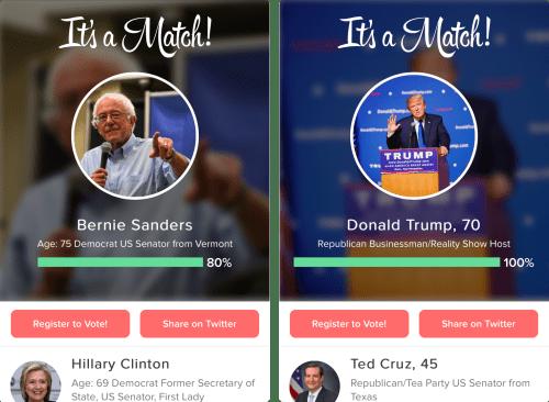 Tinder et la politique américaine, c'est un «match»