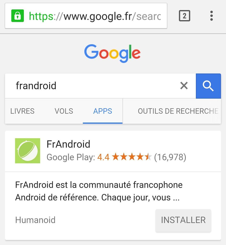 Le moteur de recherche Google comporte désormais un onglet dédié aux applications