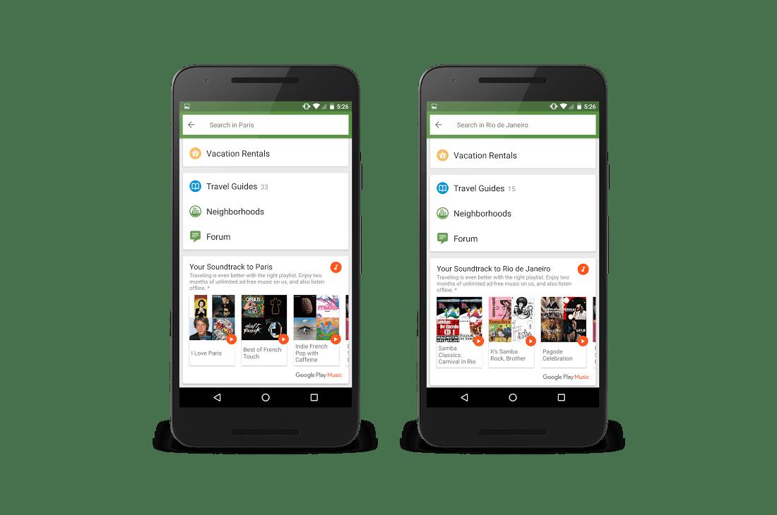 Google et TripAdvisor veulent que Play Musique vous accompagne pendant vos vacances