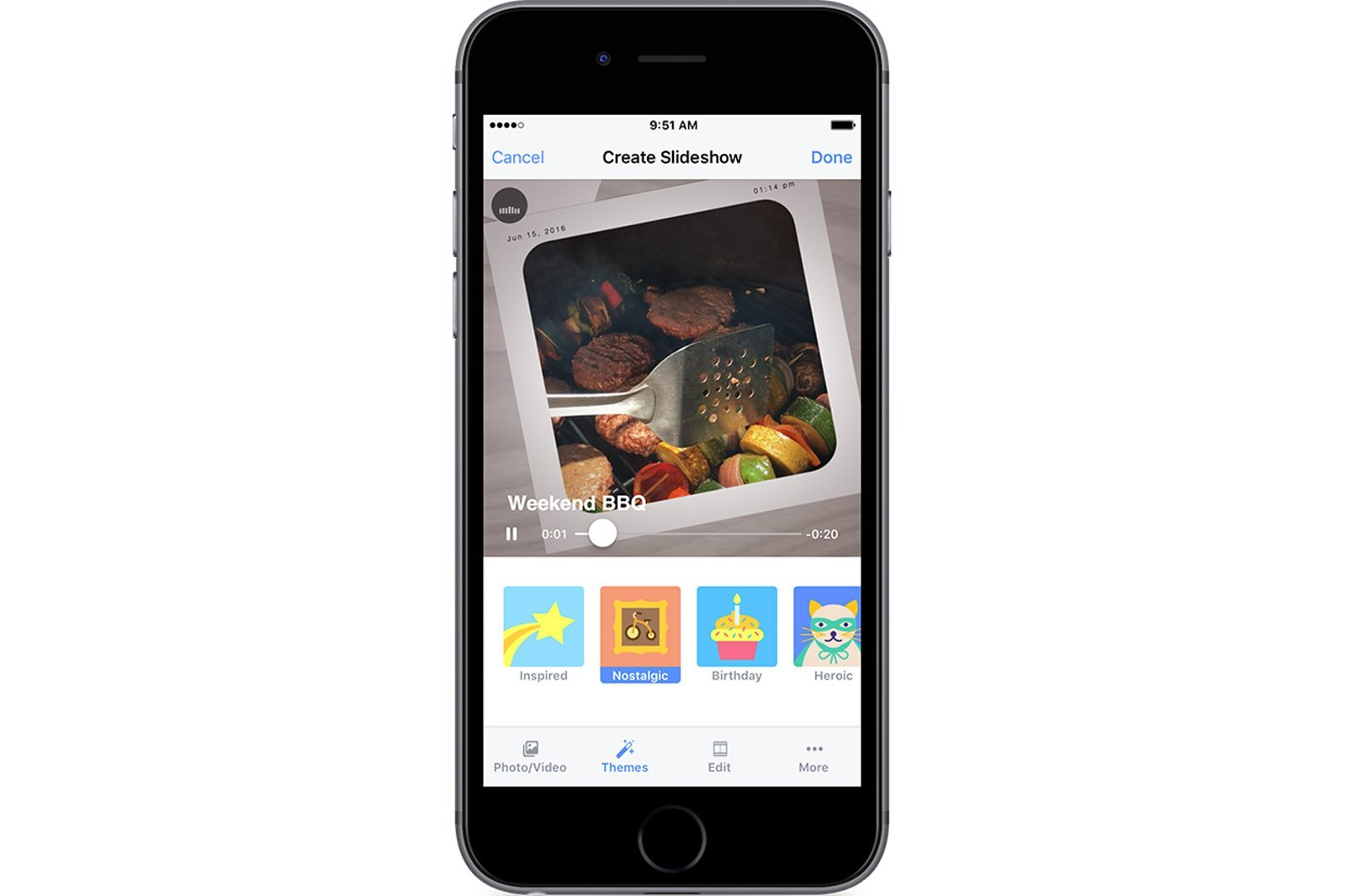 Facebook lance Slideshow sur iOS, une fonction de création de souvenirs