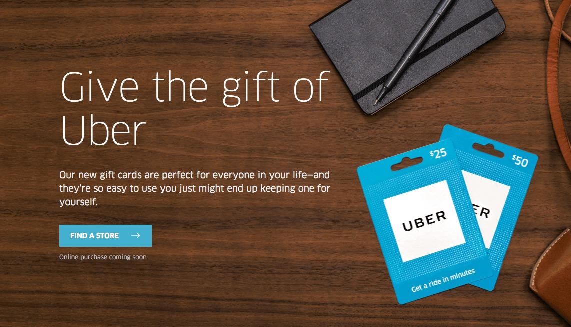 Uber se lance dans les cartes cadeaux pour créditer les comptes