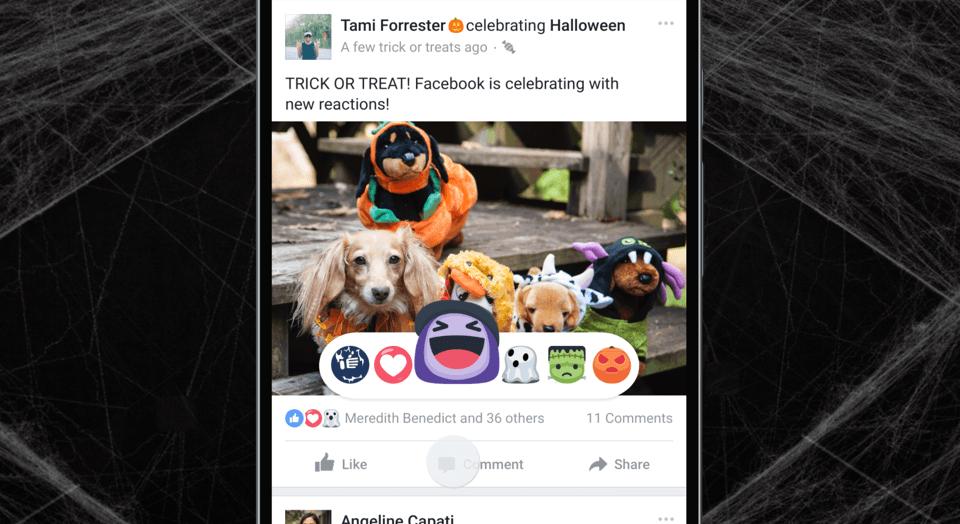 Facebook déploie ses emojis et ses filtres Halloween, mais oublie la France et Android