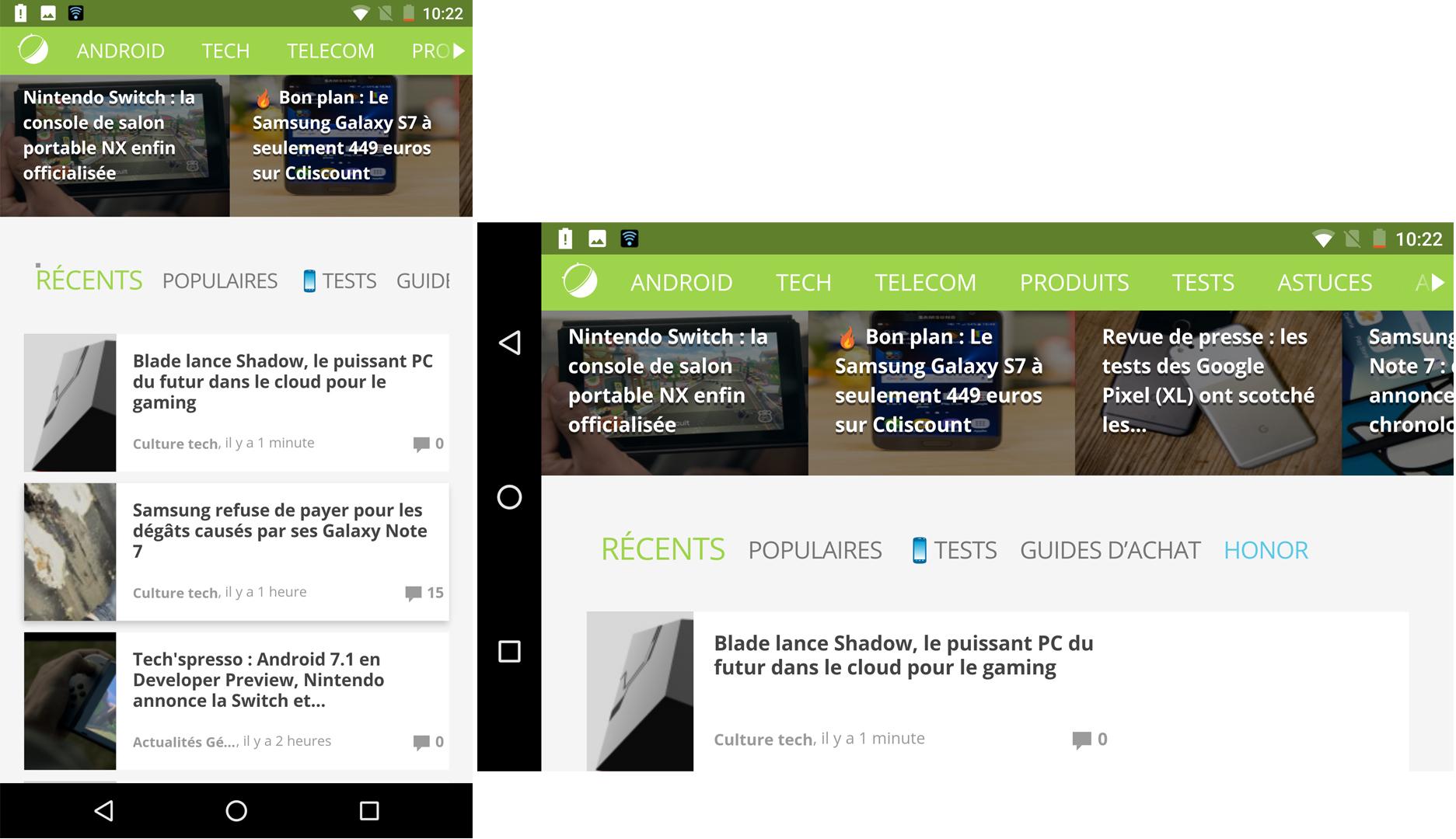 Android 7.1 Nougat : l'écran tourne, pas la barre de navigation