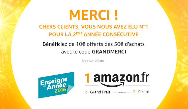 🔥 Bon plan : 10 euros de réduction à partir de 50 euros d'achat Amazon