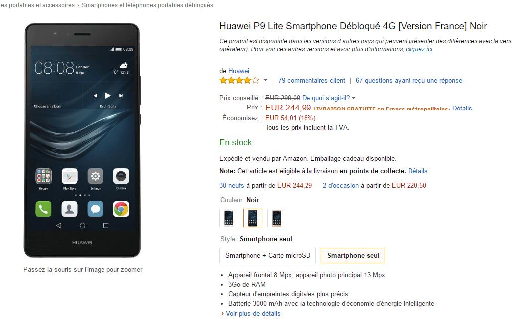 Huawei P9 Lite : une baisse de prix, près de 214 euros