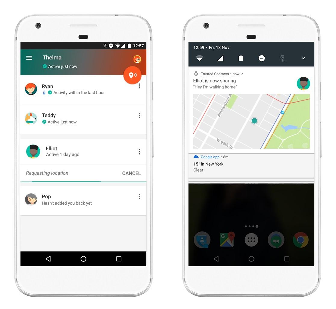 Google Contacts veut partager votre position avec vos proches