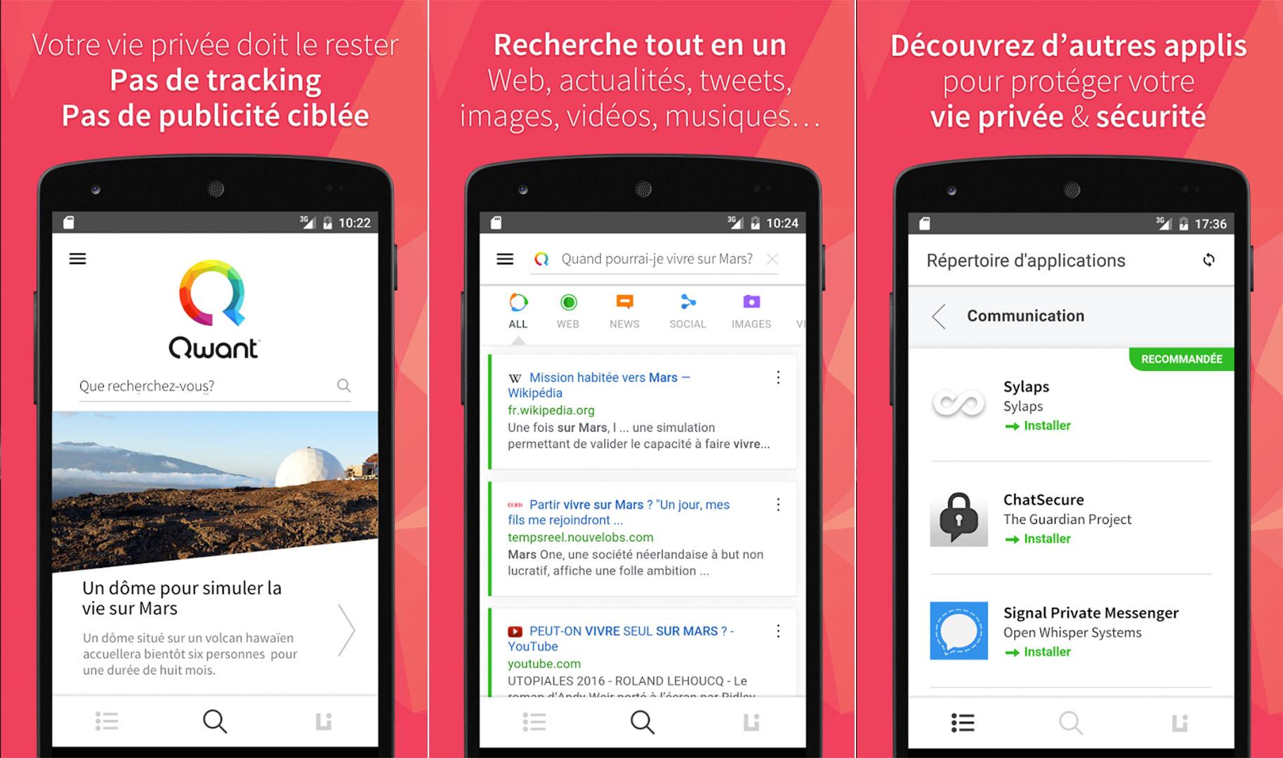 Qwant : le moteur de recherche lance son application sur Android et iOS