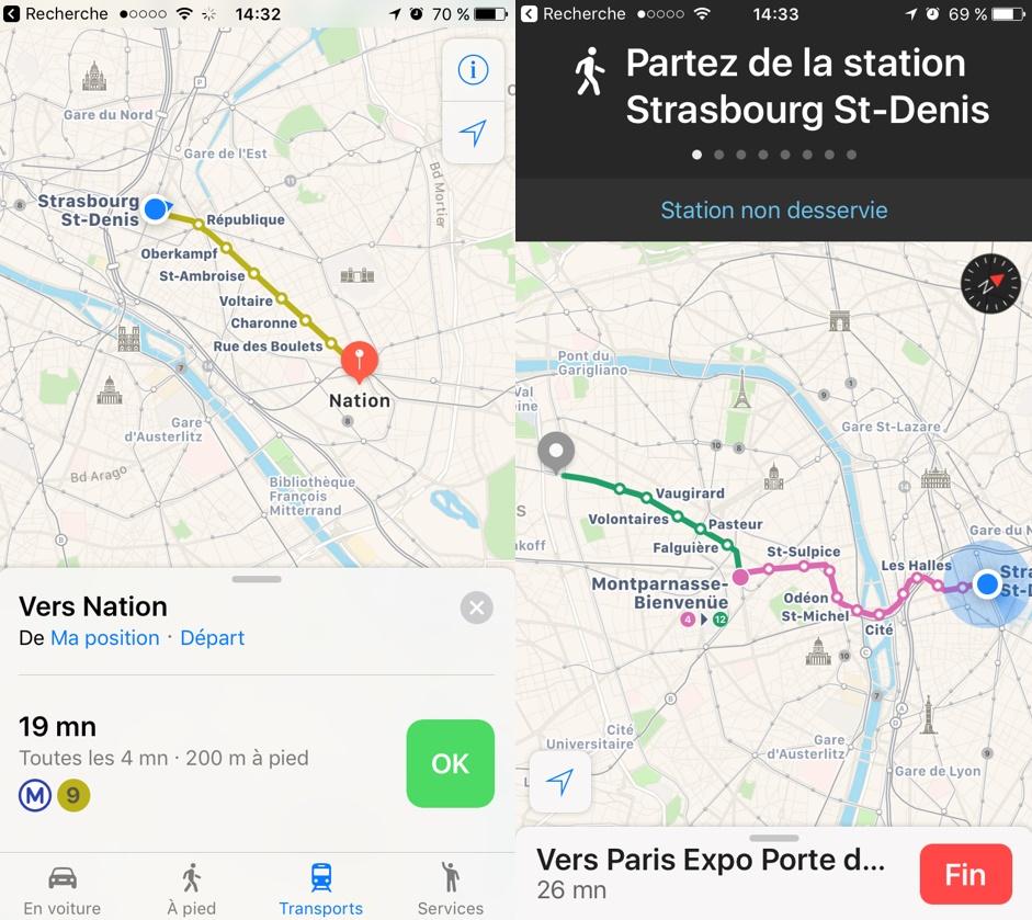 Apple Plans intègre (enfin) le métro parisien, le bus et le RER