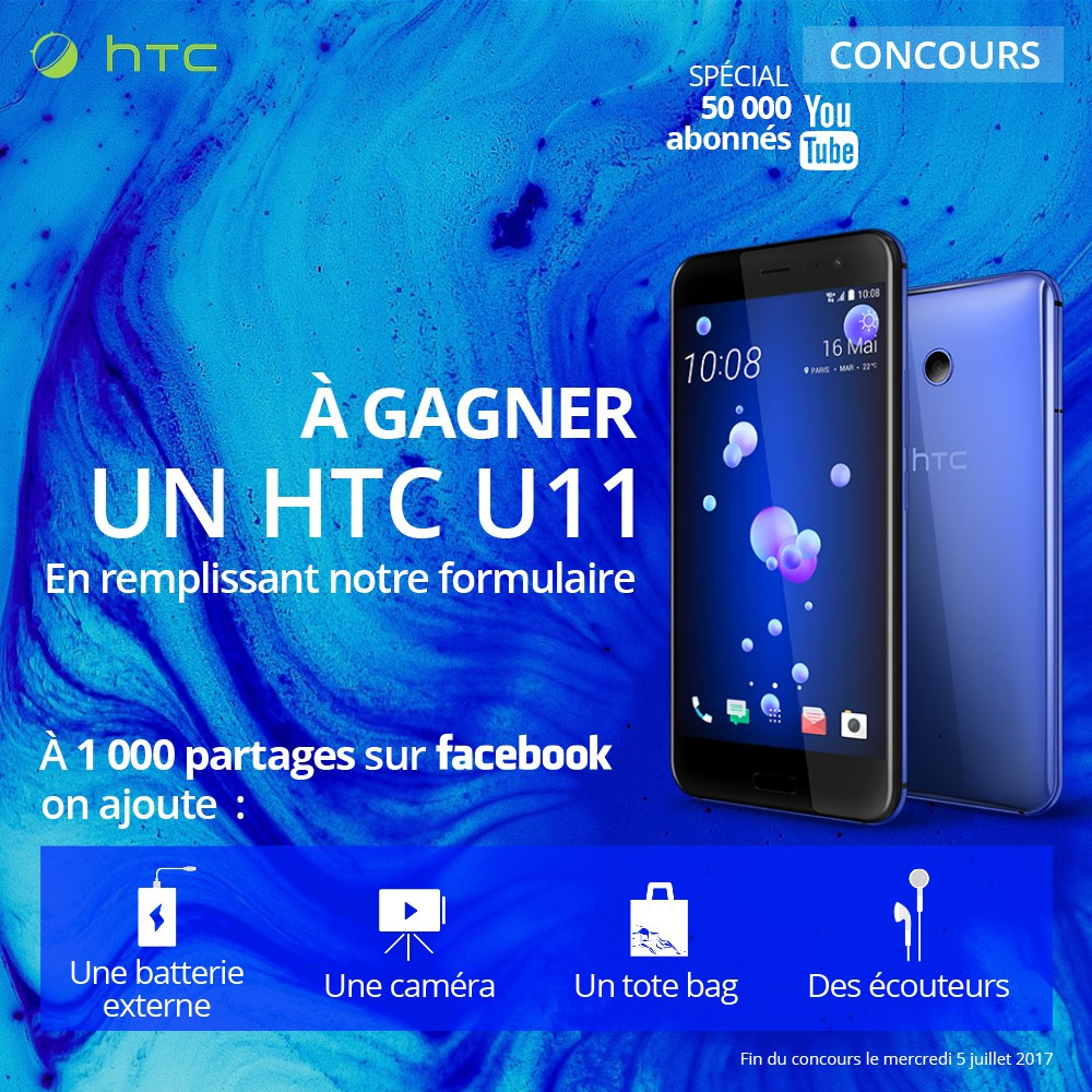 🔥 Concours : gagnez un HTC U11 et plein d'accessoires HTC !