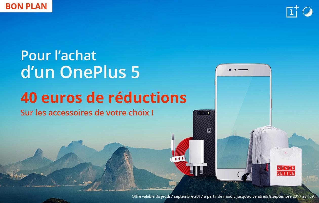 🔥 Bon Plan exclusif : 40 euros offerts pour l'achat d'un OnePlus 5 sur le site officiel jusqu'à demain !