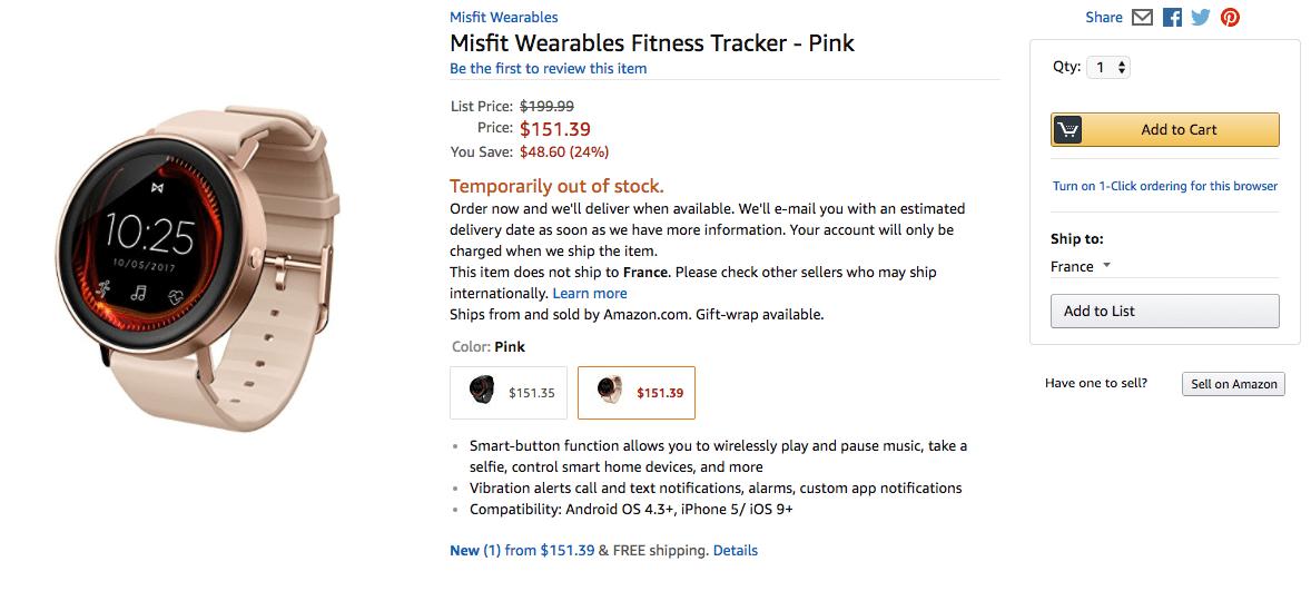 Misfit Vapor : présente sur Amazon, la montre connectée accuse encore un retard