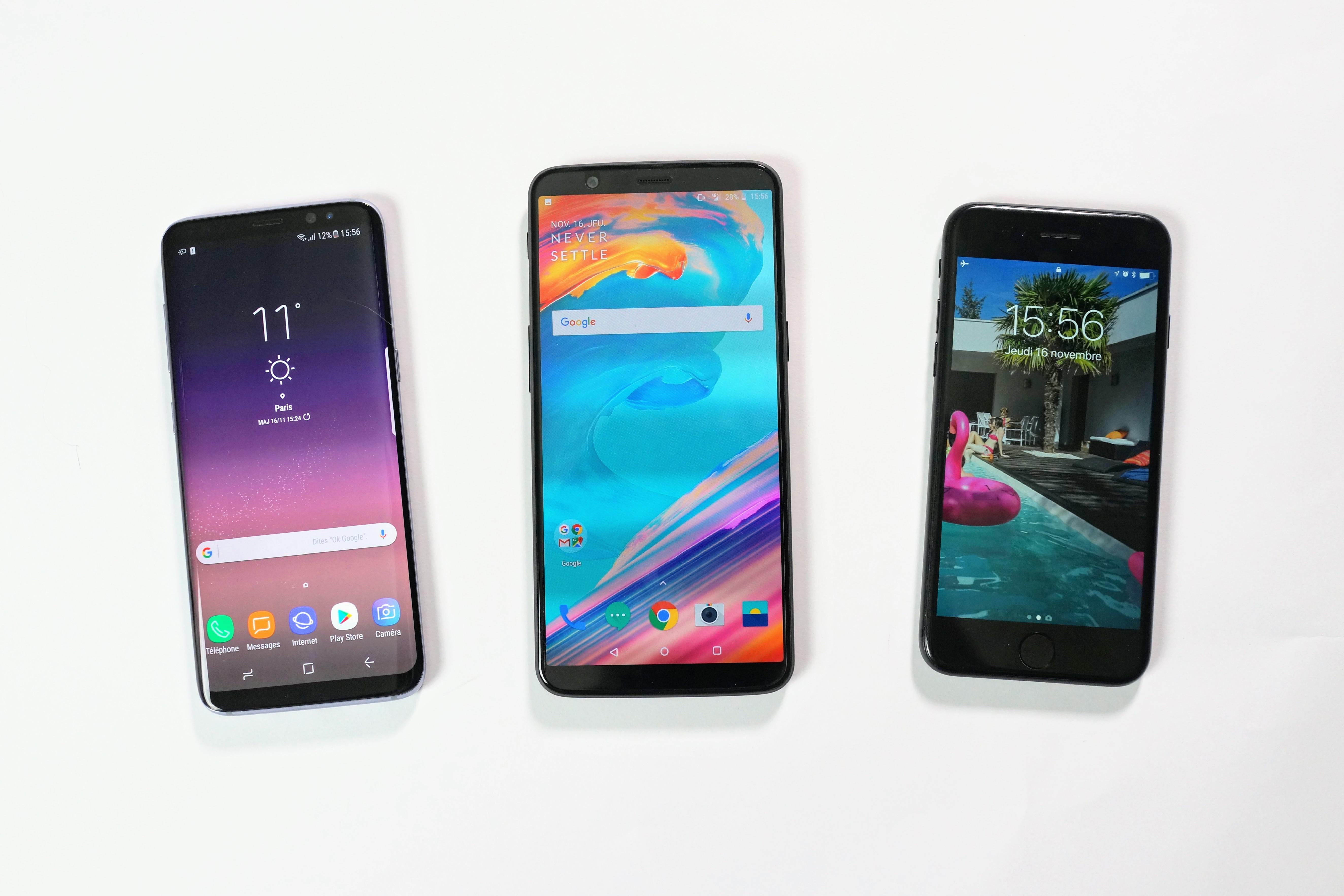 Comparatif OnePlus 5T : si vous hésitez entre les Galaxy S8 et l'iPhone 7