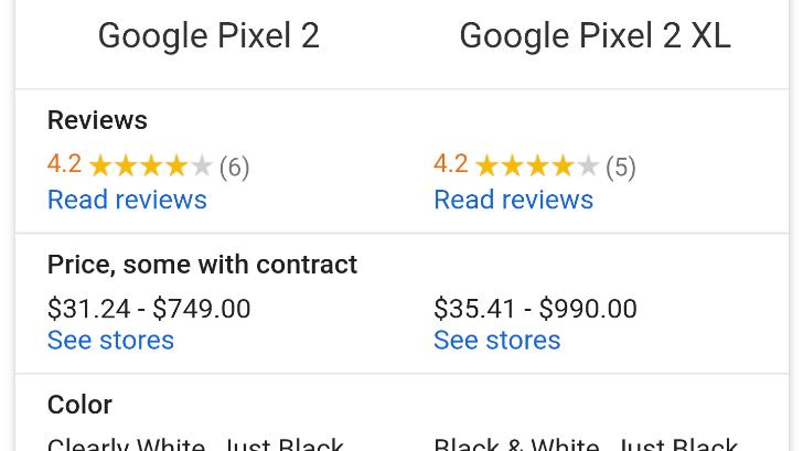 Google permet désormais de comparer les caractéristiques de deux appareils