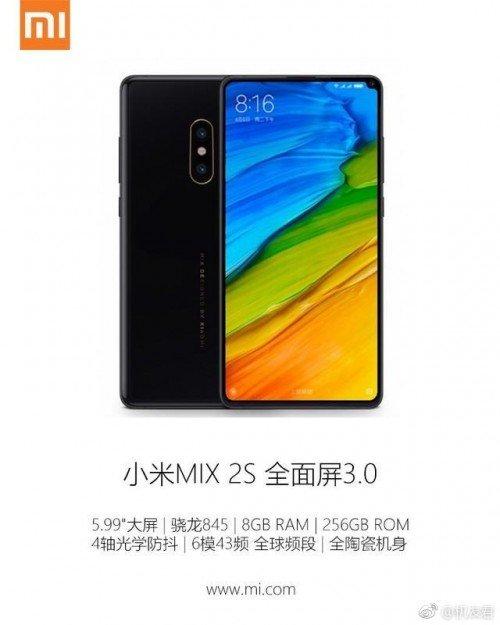 Xiaomi Mi Mix 2S:une batterie de 3400 mAh au programme, la fiche technique se précise