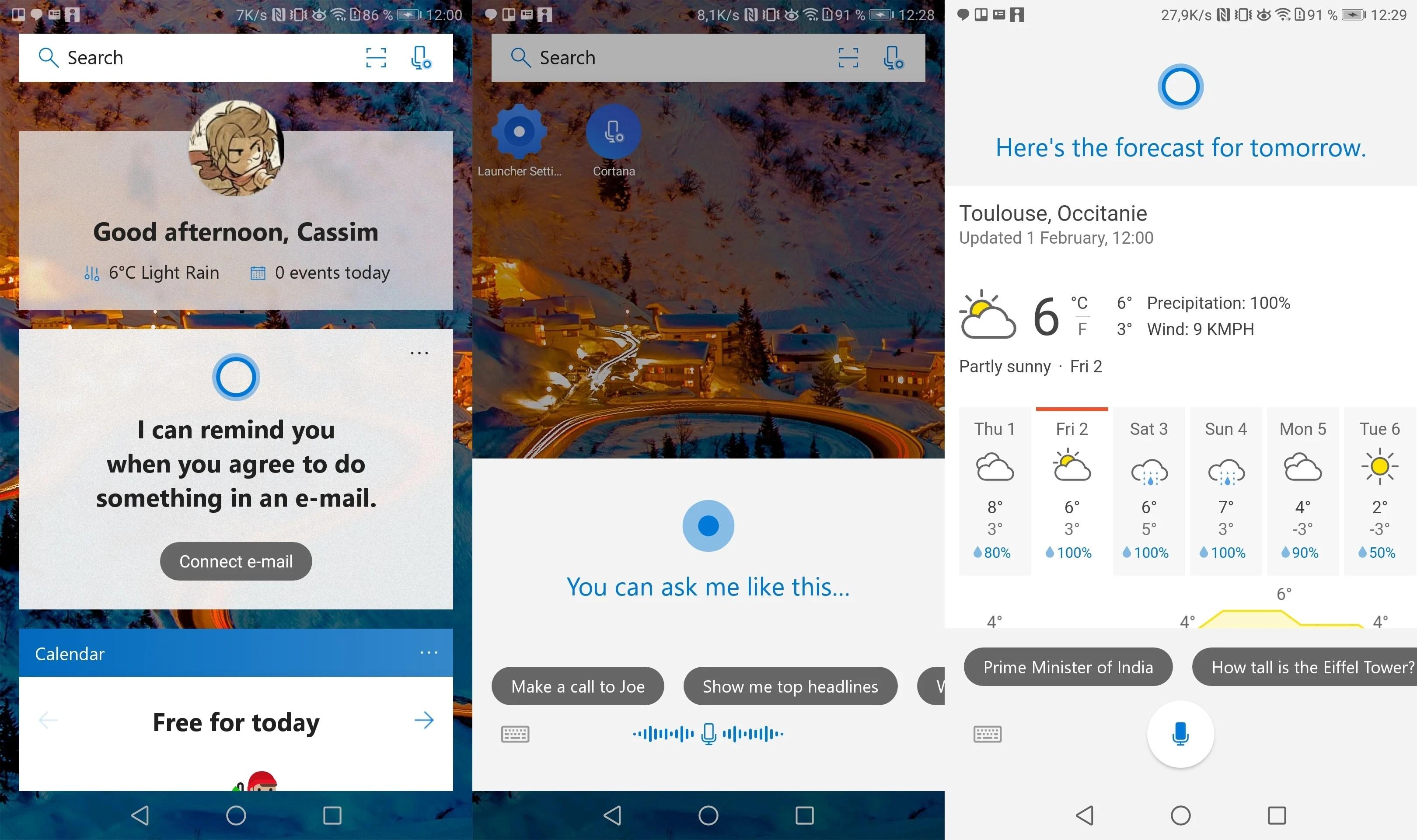Microsoft Launcher : Cortana intégrée et pour la première fois disponible en France