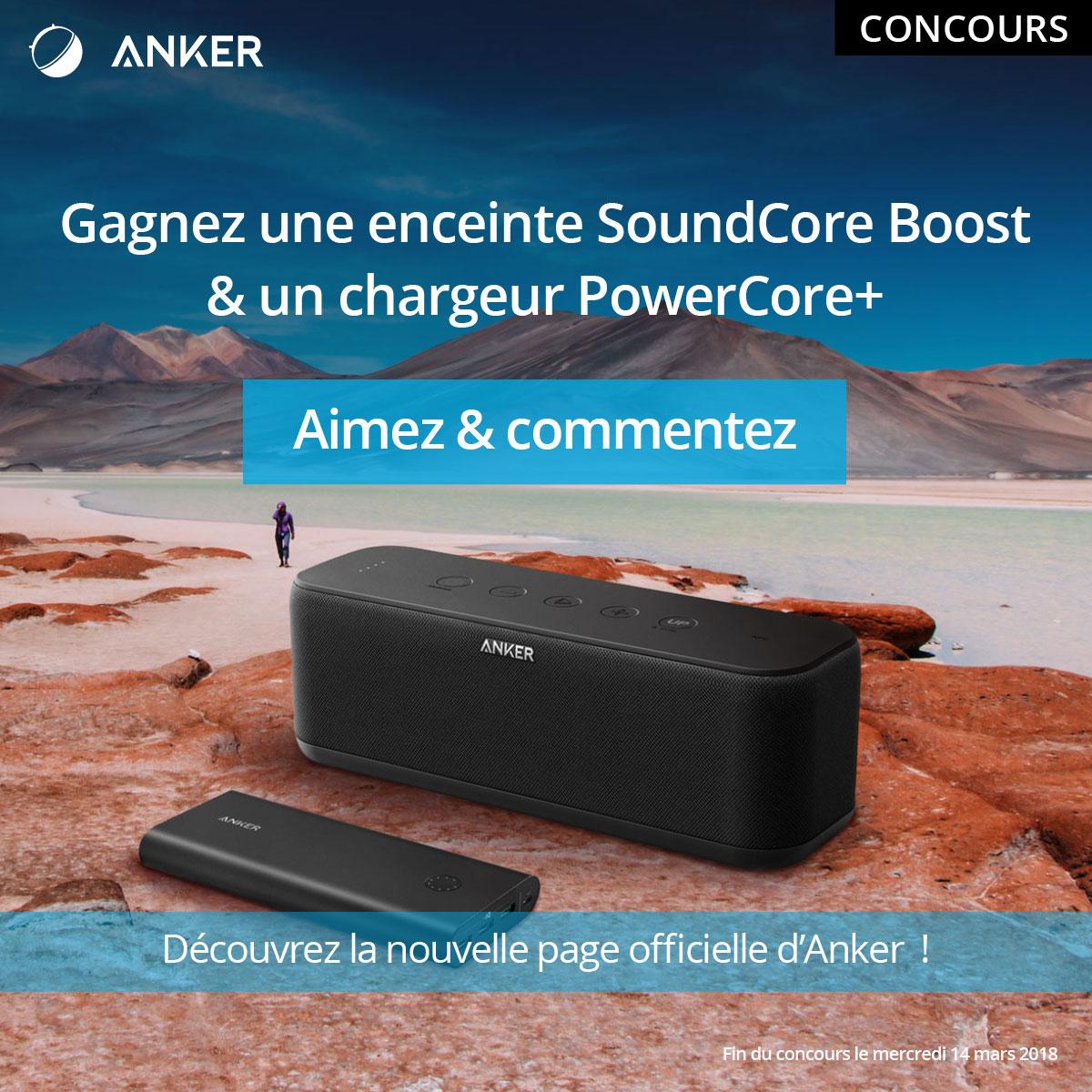 🔥 Concours : une enceinte SoundCore Boost et une batterie PowerCore+ d'Anker à gagner !