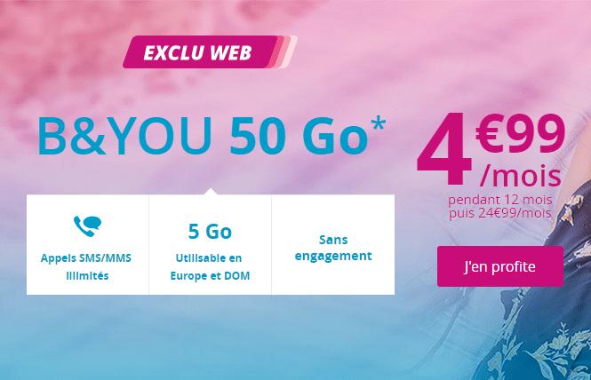 🔥 Bon plan : le forfait B&You 50 Go à 4,99 euros par mois pendant 1 an