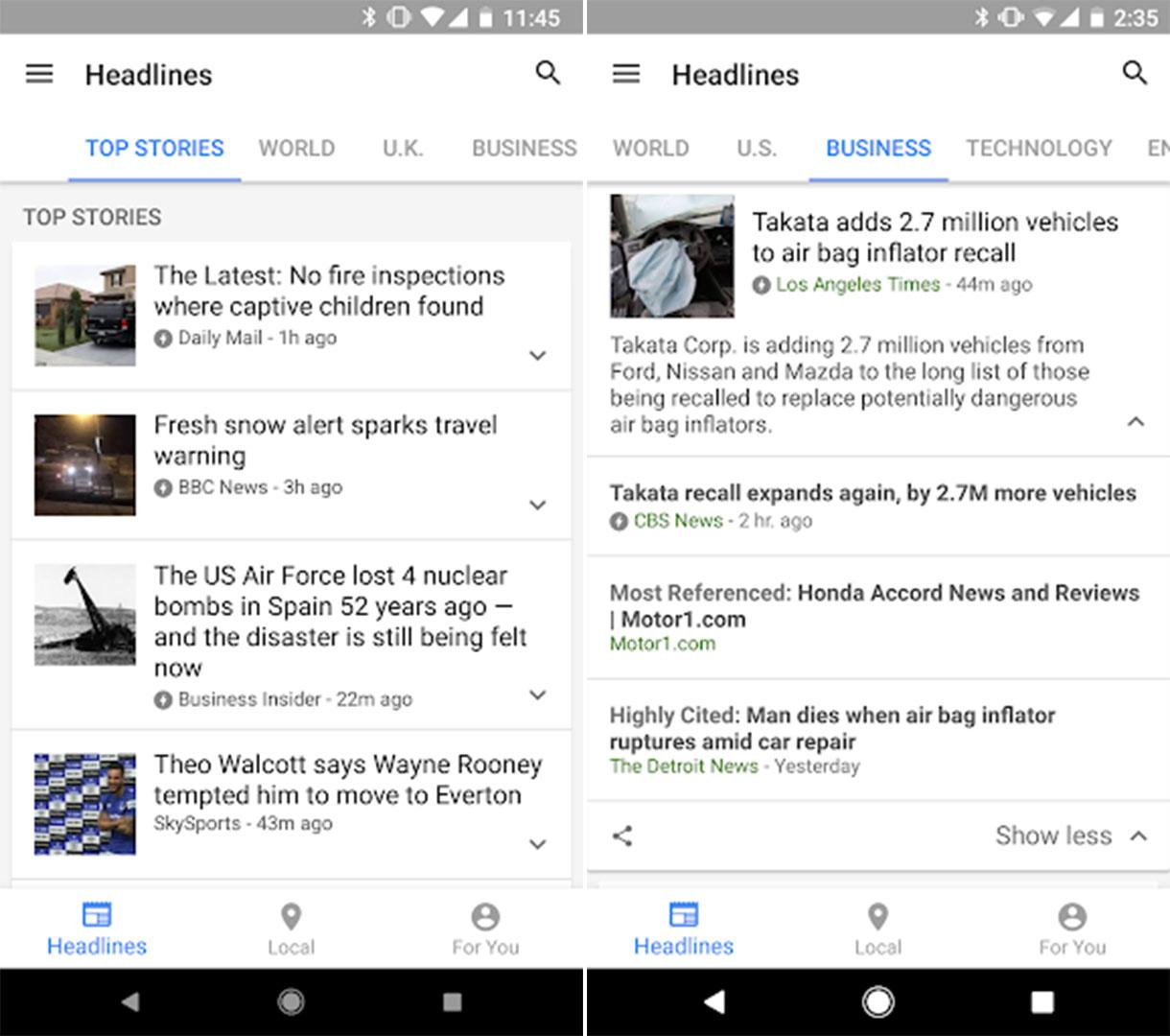 Google Actualités: vidéos YouTube et lectures magazines, un gros changement de design est prévu