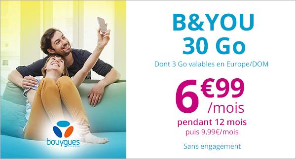 🔥 Bon plan : forfait B&You 30 Go à 6,99 euros par mois sur Showroomprive