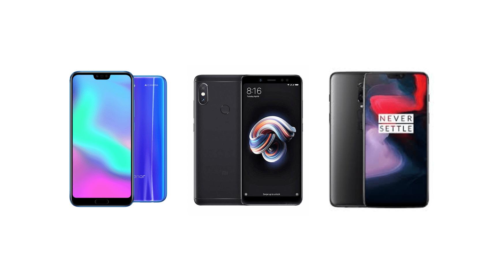 Xiaomi Redmi Note 5 à 163 euros, OnePlus 6 (128 Go) à 489 euros et Honor 10 (128 Go) à 332 euros